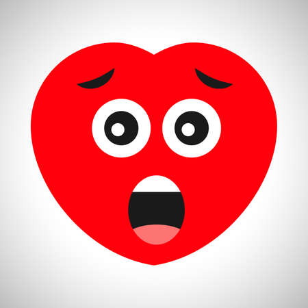 Scared cartoon heart with open mouth. Symbol of Love. Vector illustration Illustration