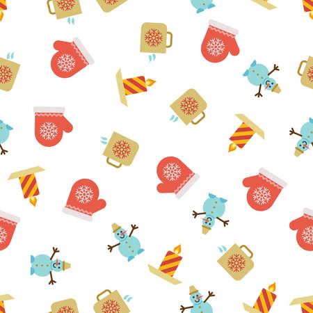 Christmas Seamless Pattern with icons in flat style. Vector illustration Illustration
