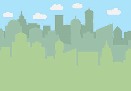 City landscape with skyscrapers in the daytime. Vector illustration