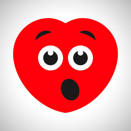 Surprised cartoon heart with open mouth. Symbol of Love. Vector illustration