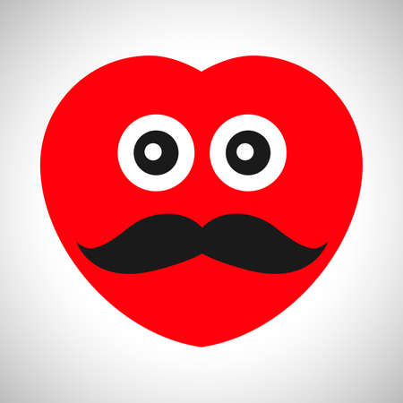 Serious cartoon heart with a mustache. Symbol of Love. Vector illustration