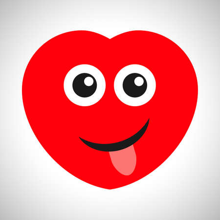 Smile cartoon heart with tongue sticking out. Symbol of Love. Vector illustration