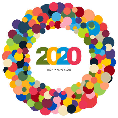 Ring of multi colored circles and the inscription Happy New Year 2020 inside. New Year and Xmas Design Element Template. Vector Illustration.