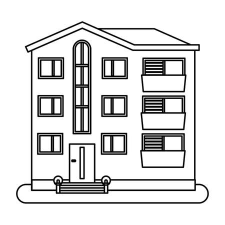 House in thin line style on white background. Vector illustration. Illustration