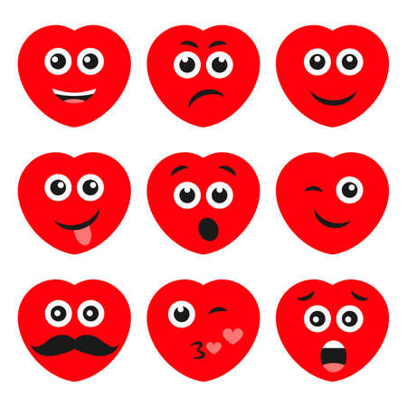 Set of nine cartoon hearts with emotions. Emoji icon in Love symbols. Vector illustration