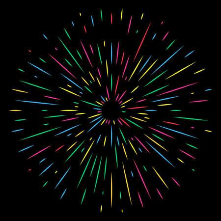 Colorful Holiday Firework on night background. Festive, anniversary and celebration Bright Salute. Vector illustration Çizim