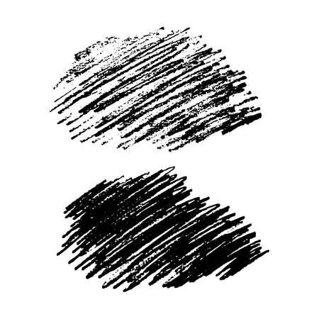 Ensemble de deux frottis Sketch Scribble. Taches de gribouillis au crayon dessinés à la main. Illustration vectorielle. Vecteurs