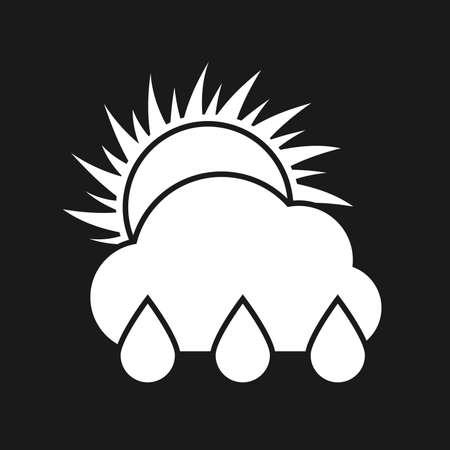 Rain sunny day Icon. White weather icon on dark background. Vector illustration.