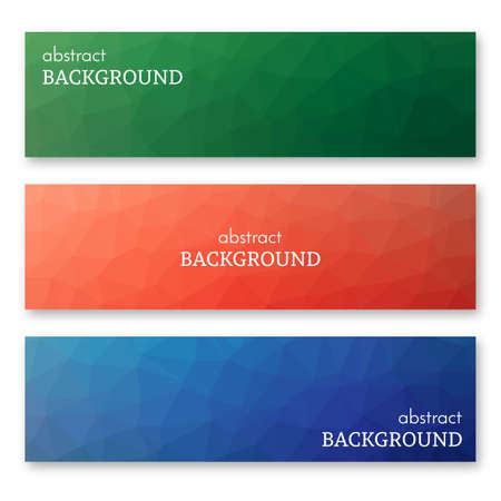 Set of three multi colored banners in low poly art style. Background with place for your text. Vector illustration