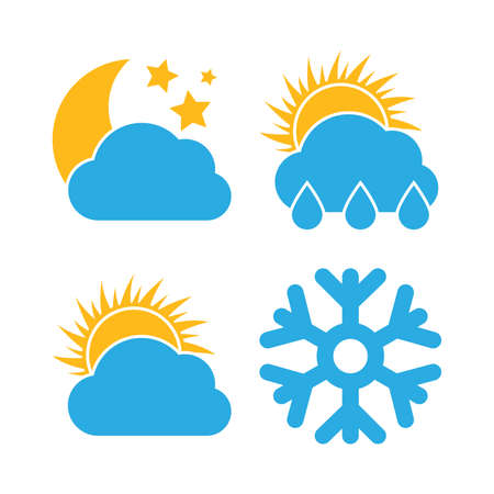 Set of four Weather Icons. Multicolored icons for different weather conditions.  Vector illustration.  イラスト・ベクター素材