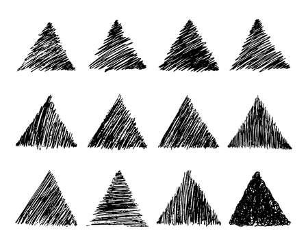 Set of twelve Sketch Scribble Smear Triangles. Hand drawn Pencil Scribble. Vector illustration.