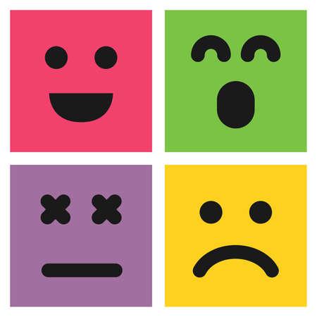 Set di quattro emoticon colorate con facce sorridenti, sorprese e insoddisfatte. Icona Emoji in piazza. Motivo di sfondo piatto. Illustrazione vettoriale Vettoriali