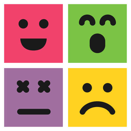 Set of four colorful emoticons with smiley, surprised and dissatisfied faces. Emoji icon in square. Flat background pattern. Vector illustration
