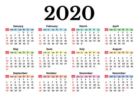 Calendar for 2020 isolated on a white background. Sunday to Monday, business template. Vector illustration