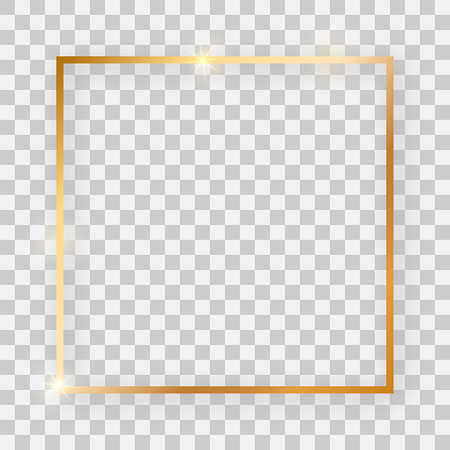 Gold shiny square frame with glowing effects and shadows on transparent background. Vector illustration