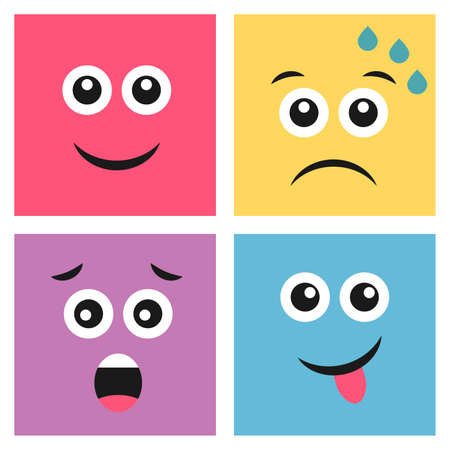 Set of four colorful emoticons with smile, dissatisfied sweaty, smiley face with tongue sticking out and scared faces. Emoji icon in square. Flat background pattern. Vector illustration Vettoriali