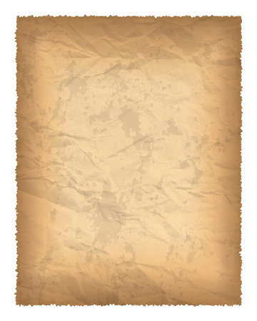 Old paper with burnt edges isolated on white background with place for your text. Vector illustration Ilustración de vector