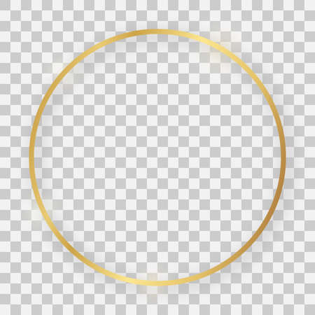 Gold shiny round frame with glowing effects and shadows on transparent background. Vector illustration 矢量图像