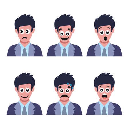 Satz von sechs Männern mit unterschiedlichen Gesichtsgefühlen. Menschliches Gesicht mit Emoji-Charakter. Vektor-Illustration Vektorgrafik