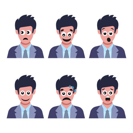 Set of six men with different facial emotions. Human face with emoji character. Vector illustration Vektorové ilustrace