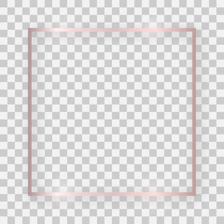 Cadre carré brillant en or rose avec des effets lumineux et des ombres sur fond transparent. Illustration vectorielle