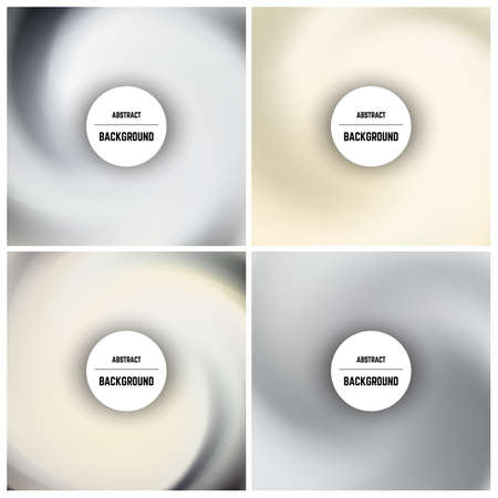Set of four monochrome background with swirl effect and circle in center. Vector illustration.