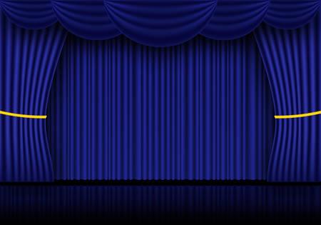 Niebieskie zasłony kurtynowe, kinowe lub teatralne. Reflektor na tle zamkniętych aksamitnych zasłon. Ilustracja wektorowa