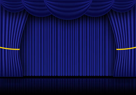 Sipario blu, drappi per palcoscenici cinematografici o teatrali. Riflettori puntati su tende di velluto chiuse sullo sfondo. Illustrazione vettoriale