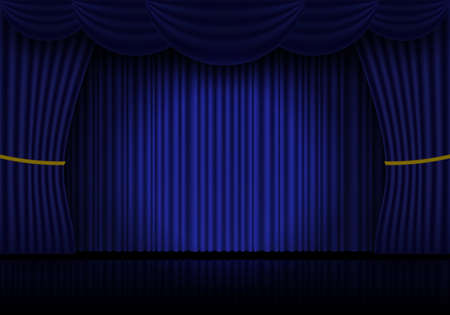 Blue curtain, cinema or theater stage drapes. Spotlight on closed velvet curtains background. Vector illustration 向量圖像