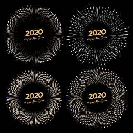 Set of four inscriptions 2020 and Happy New Year isolated on black background. Vector illustration