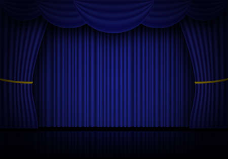 Blue curtain opera, cinema or theater stage drapes. Spotlight on closed velvet curtains background. Vector illustration