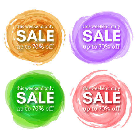 Set of Four Sale this weekend only up to 70 off sign with shadow over red watercolor spot. Vector illustration.