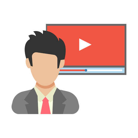 Online video. The man before the video broadcast. People icon in flat style. Vector illustration