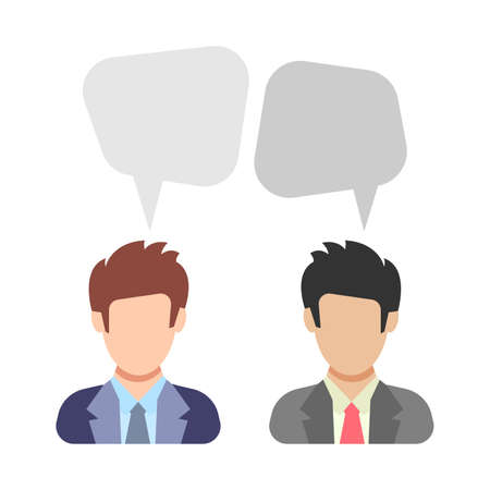 Dialogue. Two men are talking. Discussion between men in business suits. People icon in flat style. Vector illustration