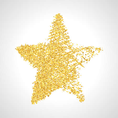 Hand drawn star with gold glitter effect. Rough star shape in doodle style with gold glitter effect on white background. Vector illustration