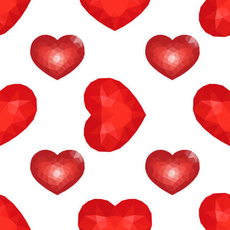 Seamless Pattern with Red Low Poly Heart. Symbol of Love. Vector illustration Çizim
