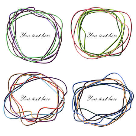 Set of Multicolored Hand Drawn Scribble in Elliptical Form Illustration