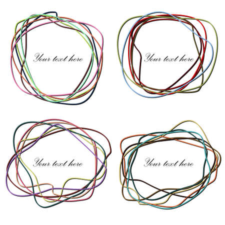 Set of Hand Drawn Scribble in Elliptical Form. Abstract vector banners elements.