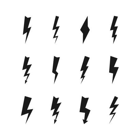 Set of twelve dark thunderstorms. Thunderbolt and high voltage black icons on white background. Vector illustration.