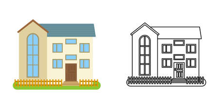 House front view in flat and line style on white background. Isolated cottage and real estate building facade. Vector illustration