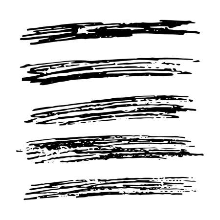 Conjunto de cinco rectángulos de frotis de garabatos de croquis. Garabato de lápiz dibujado a mano. Ilustración vectorial. Ilustración de vector