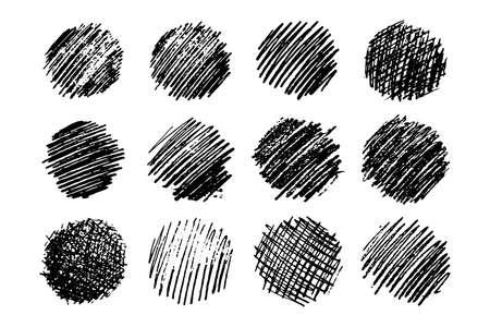 Conjunto de doce frotis de garabatos de croquis. Mancha de garabato de lápiz dibujado a mano. Ilustración vectorial. Ilustración de vector