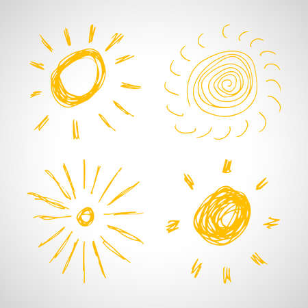 Hand drawn suns. Set of four simple sketch suns. Solar symbol. Yellow  doodle isolated on white background. Vector illustration.