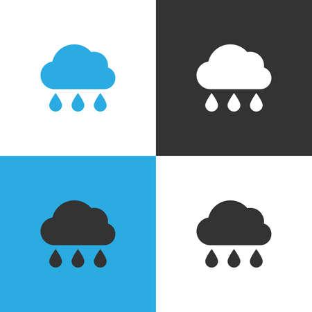 Cloud rain Icon. Set of four Cloud rain icon on different backgrounds. Vector illustration.
