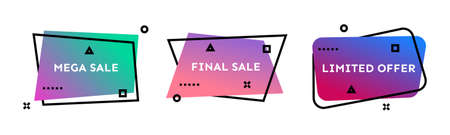 Mega Sale, Final Sale, Limited Offer. Set of three colorful geometric trendy banners.  Modern gradient shape with promotion text. Vector illustration.