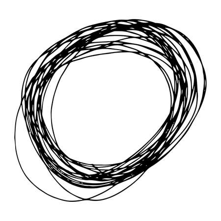 Sketch Hand drawn Ellipse Shape. Abstract Pencil Scribble Drawing. Vector illustration.