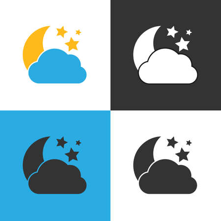 Cloudy night Icon. Set of four Cloudy night icon on different backgrounds. Vector illustration.