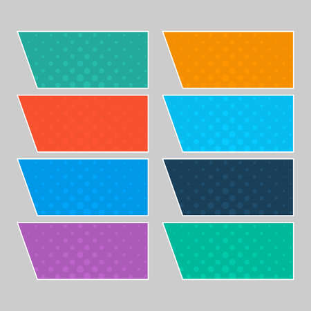 Set of multi colored pop art banners. Halftone comic template with place for your text for design. Vector illustration Vectores