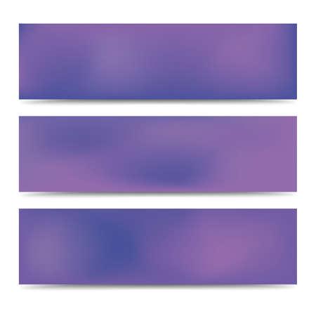 Ensemble de bannières violet dégradé flou abstrait lisse. Abstrait multicolore créatif. Illustration vectorielle