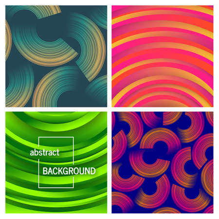 Set of four abstract trendy geometric background. Card design. Beautiful futuristic dynamic pattern design. Vector illustration Illustration